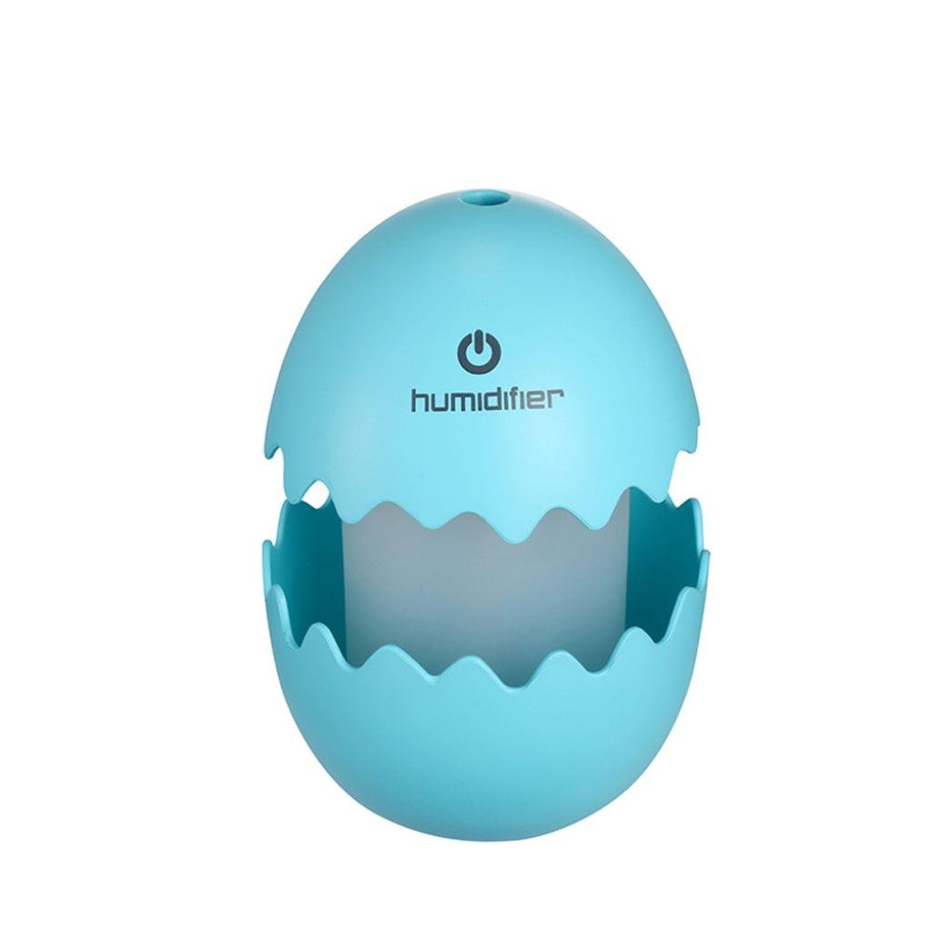 Kemilove Mini Egg Ultrasonic Humidifier LED Home Office Car Air Aroma Diffuser Purifier (Blue)