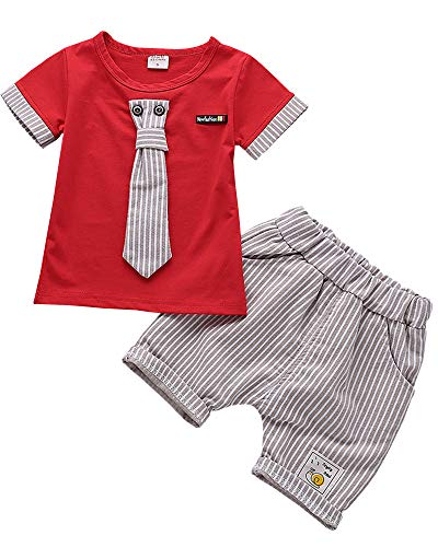 Ancia 2016 Baby Boys Kids 2 Pieces Fall Clothing Set T-Shirt Pants Outfits(Stripes Red,9-12 months)