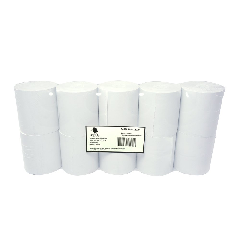 Gorilla Supply Thermal Receipt Paper Rolls 3 1/8 x 230 10 Rolls 10R-T12230