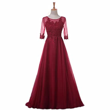 honeywedding Women Prom Dress Tulle Wine red Party Dresses Appliques Pink Three Quarter Sleeve Evening Gown