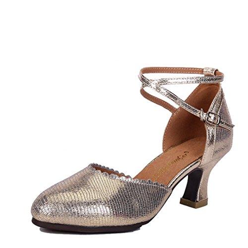 (WXMDDN Latin Dance Shoe Light Blond Dance Shoe 5.5cm Outdoor Dance Shoe Leather Dance Shoe Soft Floor Jazz Dance Dance Shoe,E37)