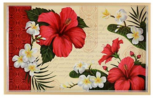 (TSC Giftables Decorative Wood Vanity Tray, Hibiscus Blossom Cream White Trim, 12.6