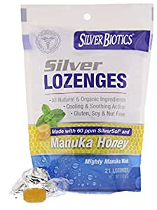 American Biotech Labs Silver Biotics Silver Lozenges w/60ppm SilverSol and Manuka Honey, Mighty Manuka Mint (21 count)