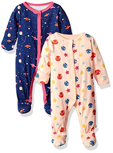 Rosie Pope Baby Girls 2 Pack Coveralls, Space, 0-3 Months