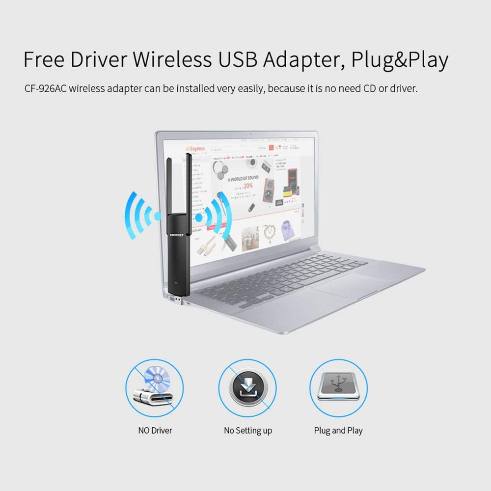 Festnight COMFSAT Wireless Network Card 1200Mbps Dual Band Wireless Adapter 2.4G 5G WiFi Router USB Adapter Card for Computer