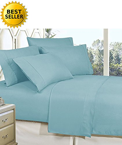 Celine Linen Best, Softest, Coziest Bed Sheets Ever! 1800 Thread Count Egyptian Quality Wrinkle-Resistant 4-Piece Sheet Set with Deep Pockets 100% HypoAllergenic, King Aqua Blue - Aqua Linen