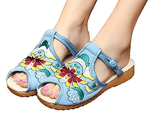 Tianrui Crown Womens Lotus Totem Embroidery Flats Peep Toe Slippers sandals