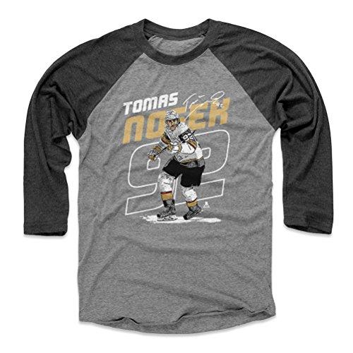 500 LEVEL Tomas Nosek Baseball Tee Shirt Medium Black/Heather Gray - Vegas Hockey Raglan Shirt - Tomas Nosek Outline W WHT