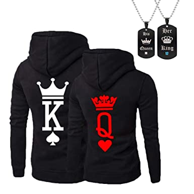8148457e8b YJQ King Queen Matching Couple His and Her Pullover Hoodie Sweatshirt for  Valentine's Day Anniversary (