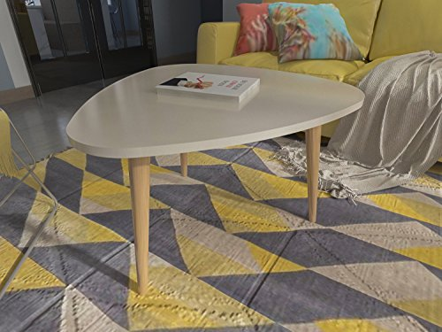 DECOROTIKA - Tale Coffee and Cocktail Table Glossy Lacquer Finish Accent Living Room Table - Ivory