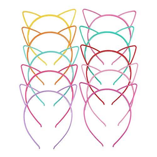 Price comparison product image 10PCS Set Multicolor Cat Ear Headbands, Children Cartoon Plastic Hair Hoop Candy Color Head Bow Hairbands Headwear for Women Girls & Kids