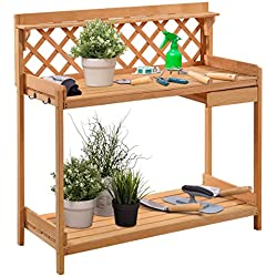 Giantex Potting Bench Outdoor Garden Work Bench Station Planting Solid Wood Construction