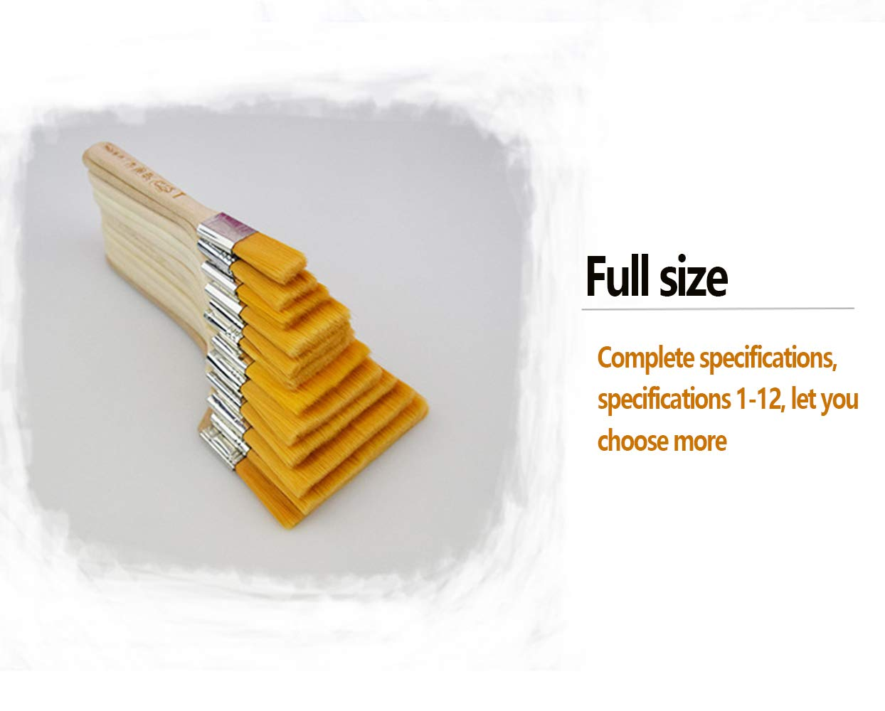 for Paint,Stain,Varnish Gesso DXIA 12pcs Paint Brush Set Profession Primer Glue Different Sizes Low Cost Paint Brushes or Chip Brush with Wooden Handle