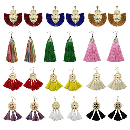 Wholesale Christmas Costumes (12 Pairs Tassel Earrings for Women Colorful Long Layered Thread Ball Dangle Earrings Yellow Red Fashion Jewelry Valentine Birthday Gifts Christmas for)