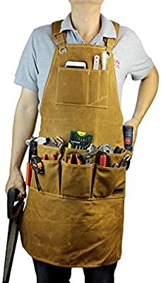 INNO STAGE Garden Tools Apron,Waxed Canvas Work Bib Aprons with Pockets,Full Coverage Utility Apron,Hand Tool Organizers,Gardening Carpentry Lawn Care Accessories for Women and Men