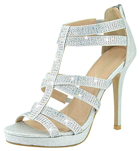 Bella Marie Women's Special Occasion Rhinestone Strappy Heeled Sandal (7.5 B(M) US, Silver) (Silver Rhinestone Heels)