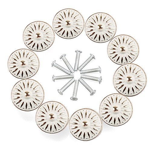 (RilexAwhile Cabinet Knob, 10Pcs 33mm Dresser Cupboard Cabinet Drawer Knobs Wardrobe Door Pull Handle for Home Office)