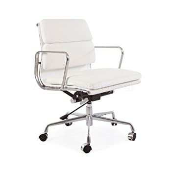 2 x high quality eames style soft pad office chair white