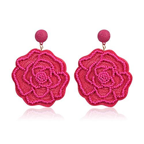 Statement Beaded Flower Earrings for Women Girls Round Drop Dangle Embroidery Handmade Bohemian Lightweight Stud Earring Summer Jewelry with Gift Box - E5 Deep Pink