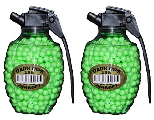 Dark Ops Airsoft AIRSOFT BB GRENADE BOTTLE Pellets 6mm .12g BBs Pistol Gun Rifle AMMO (.12gram, 1600 BBs (2 Bottles of 800 BBs)) (1600 BBs (2 (Use 6mm Bbs)
