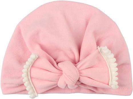 Gorro de algodón suave para recién nacido, con nudo de turbante, para niños de 0 a 6 años de edad rosa rosa Talla:18.5 * 14.5cm: Amazon.es: Bebé