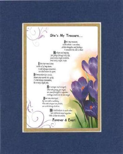 Touching and Heartfelt Poem for Love & Marriage - [She's My Treasure. ] on 11 x 14 CUSTOM-CUT EXTRA-WIDE Double Beveled Matting