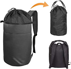 Cuddly Nest Oxford Laundry Bag 2 in 1 - Durable Laundry Backpack with Adjustable Shoulder Strap for College Dorm Apartment Travel(M, Black)
