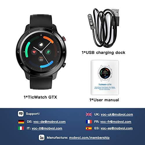 TicWatch GTX Fitness Smartwatch para hombres y mujeres, con 10 días de duración de la batería, IP68 a prueba de agua…