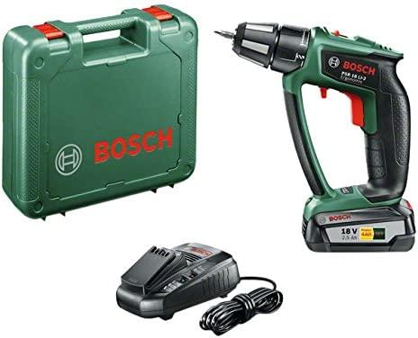 Bosch 0.603.9B0.100 PSR 18LI-2 Ergonomic-Taladro-Atornillador (2 velocidades, 20 Niveles de par, batería de Litio), 45 W, 18 V, Negro, Verde, Rojo No ...