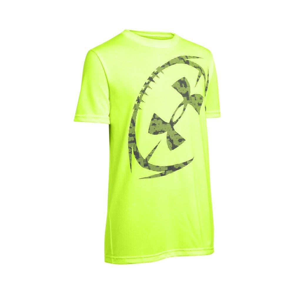 Under Armour Kids Boy's Football Logo Short Sleeve Tee (Big Kids) Fuel Green/Black T-Shirt XL (18-20 Big Kids) 1277505-363