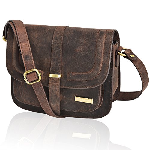 Leather Crossbody Bags For Women - Crossover Purse Over The Shoulder Womens Purses and Handbags Travel Saddle Bag by Estalon (Brown Crazy Horse)