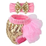 Slowera Baby Girls 2PCS Sets Cotton Tulle Sequins Diaper Cover Bloomers and Headband (Pink Gold, M: 6-12 Months)