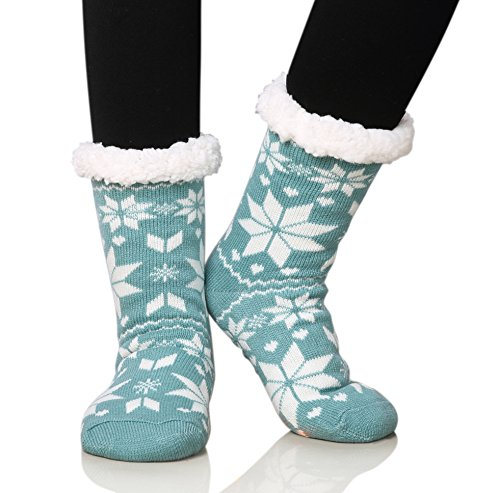 Dosoni Women's Fleece Lining Fuzzy Soft Christmas Knee Highs Stockings Slipper Socks (Snowflake Green)