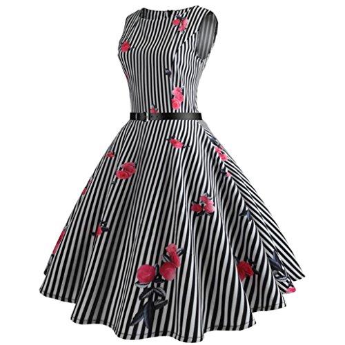 Hepburn De Haute Femmes Adeshop Parties Par Taille Soirée Vêtements Élégant Chic Rond Vintage Robe Balançoire Serré Noir Impression Bande Robe Été Col Grande nA5W4