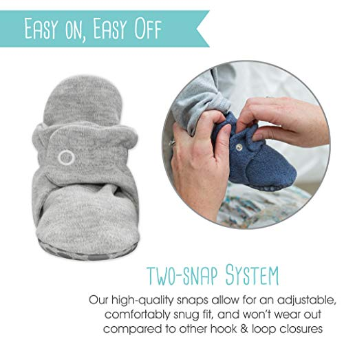 Zutano Cotton Baby Booties with Gripper Soles, Soft Sole Stay-On Baby Shoes