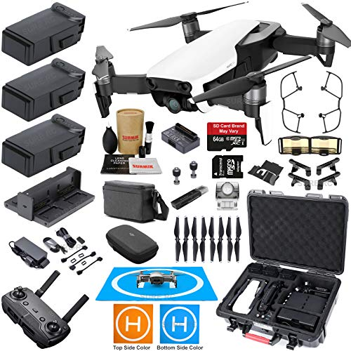 DJI Mavic Air Fly More Combo (Arctic White) with 3 Batteries, Bundle Kit with Rugged Carrying Case & Must Have Accessories