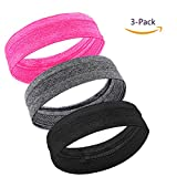 MIRKOO Workout Headbands Women Men, 3-Pack Moisture Wicking Non-Slip Sweatbands, Quick-Dry Soft Stretchy Bandana Headband Running Yoga Sports Fitness Workout Exercise Travel Working
