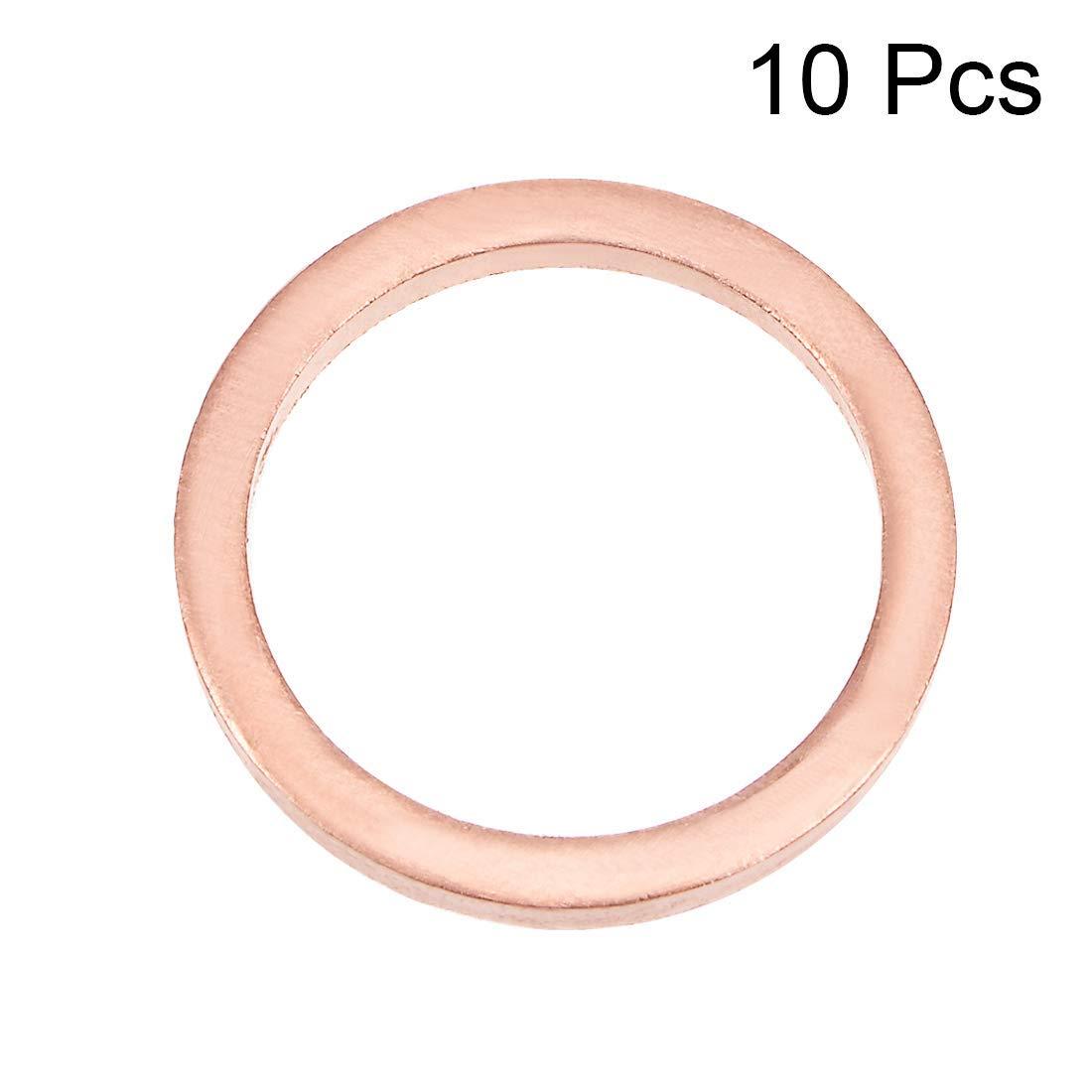 10Pcs 16mm x 20mm x 2mm Flat Copper Screw Washer