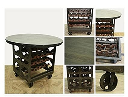 Factory Wine RACK TABLE With Rolling Cart Wheels Wood Iron Vintage Style  Furniture