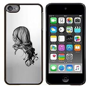 Eason Shop / Premium SLIM PC / Aliminium Casa Carcasa Funda Case Bandera Cover - Chica Negro Blanco Dibujo minimalista - For Apple iPod Touch 6 6th Touch6