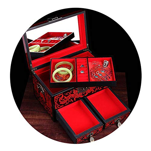 HAIHF Jewellery Box, Chinese Furniture & Gifts Painted Lacquer Crafts, Black Push Light Lacquer Jewellery Armoire/Jewellery Box (Armoire Black Lacquer)