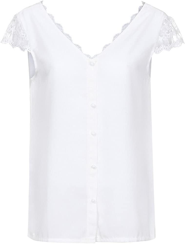 wyxhkj Tops Blusa Manga Corta Verano Mujer Camiseta Blusas Manga Corta Encaje Espalda Abierta V-Cuello Suelto Casual: Amazon.es: Ropa y accesorios
