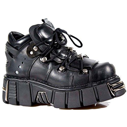 Stivali gotici neri metallizzati in pelle nera in pelle roccia nuova Rock Rock