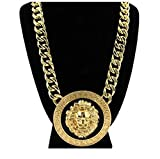 """GALHAM - Celebrity Style Lion Head 1.88"""" Pendants with 18"""" Chunky Link Chain Necklace Gold Tone with Black Enamel"""