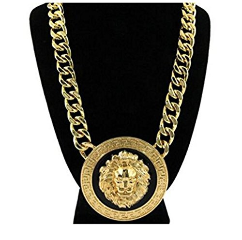 "GALHAM - Celebrity Style Lion Head 1.88"" Pendants with 18"" Chunky Link Chain Necklace Gold Tone with Black (Chunky Link Chain)"