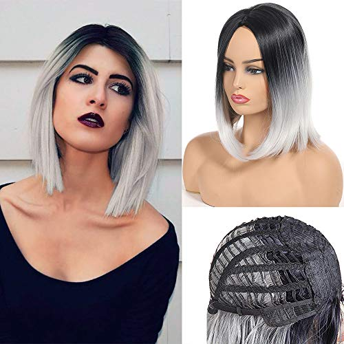 Short Bob Wig Middle Part Soft Synthetic Hair for White Black Women Straight Short Bob Wigs Two Tone Ombre Color 1B/White -