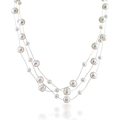 5b58cea7cac03 Multi Strand Fishing Line White Freshwater Cultured Pearl Illusion Necklace  For Women For Wedding For Bride Maid