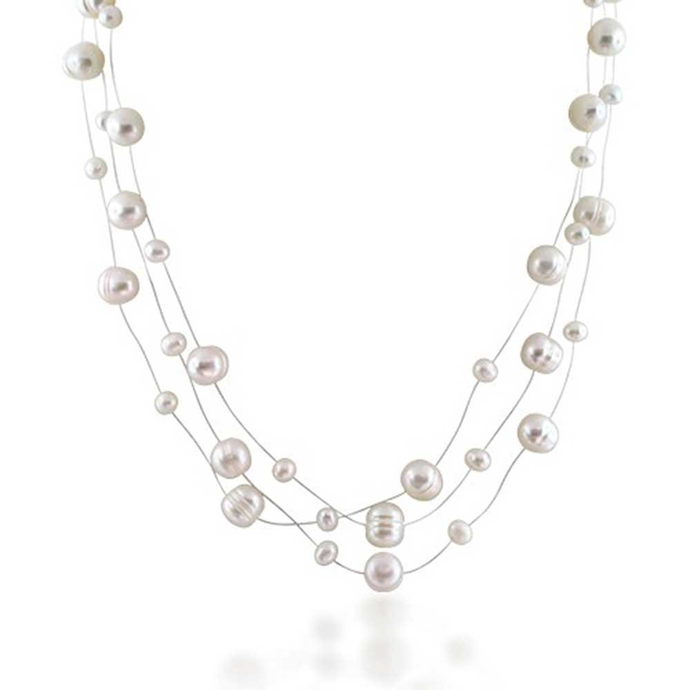 Bridal Freshwater Cultured Pearl Illusion Silver Plated Necklace 16 Inches
