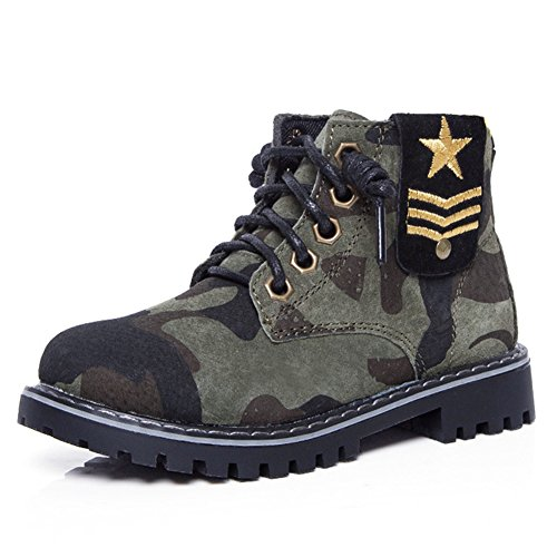 Hoxekle Boys Winter Warm Camo Combat Hiking Boots Kids Toddler Non Slip Military Short Ankle Snow Boot