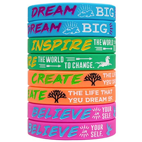 Sainstone Silicone Motivational Wristbands, Rubber Inspirational Quote Bracelets - Dream, Inspire, Create, Believe for Kids Boys & Girls Scout Birthday Party Cheer Gifts Supplies Favors Color (Ladies)